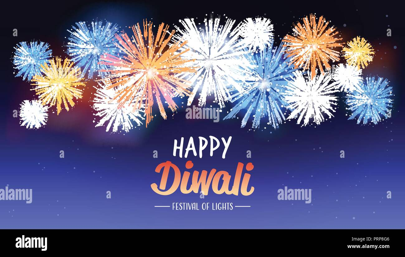 happy diwali traditional indian lights hindu festival celebration holiday concept flat greeting card template invitation horizontal copy space