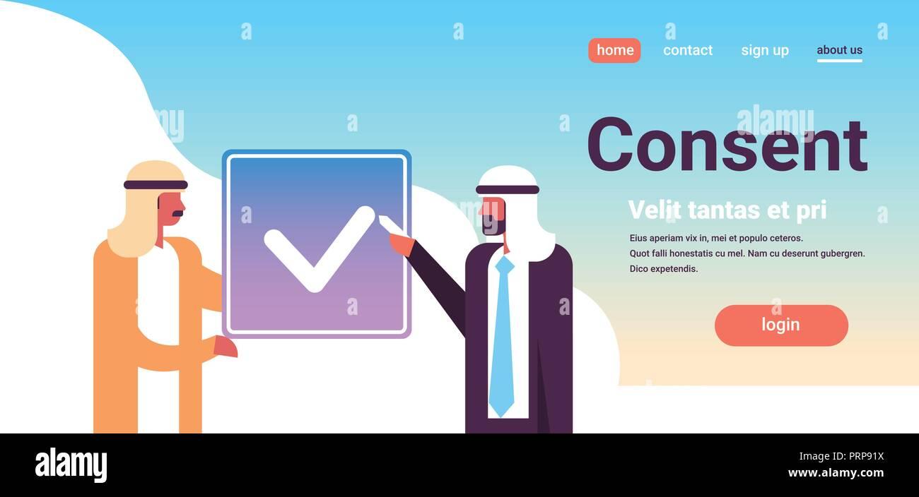 fc925283 arabic business people agreement green consent form arab men communication  concept flat horizontal portrait copy space