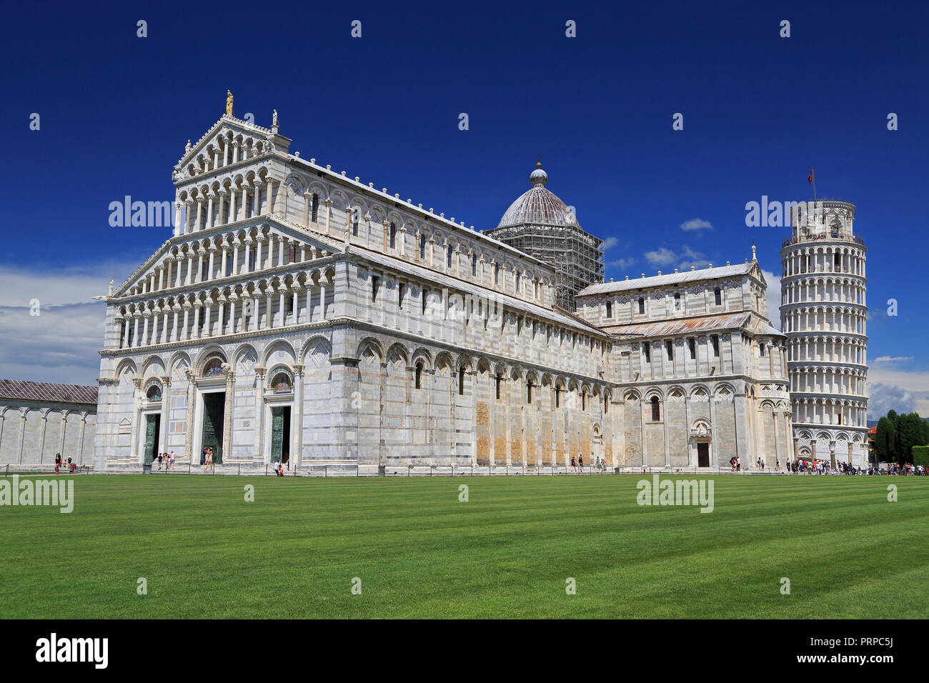 Piazza del Duomo in Pisa, basilica and leaning tower, Italy Stock Photo