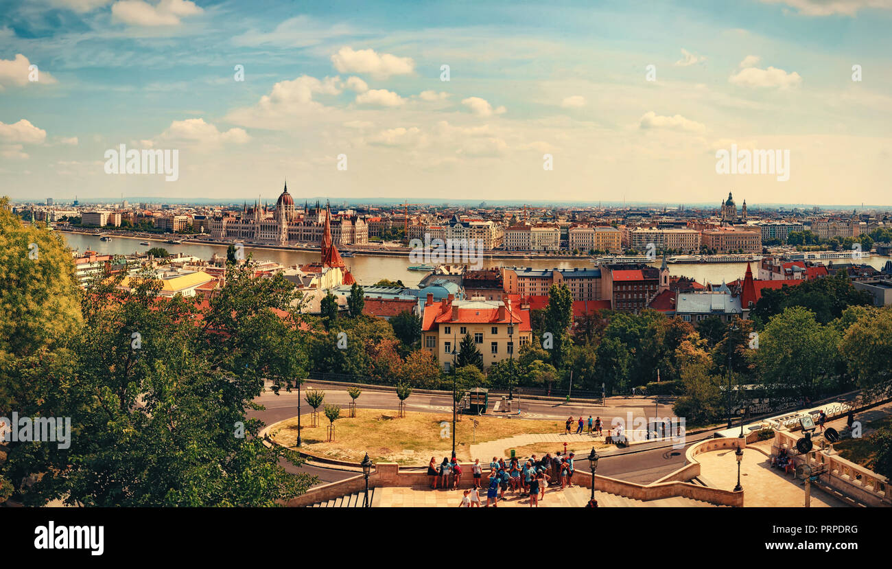 View of Hungarian parliament over river Danube from Fisherman bastion viewpoint. - Stock Image