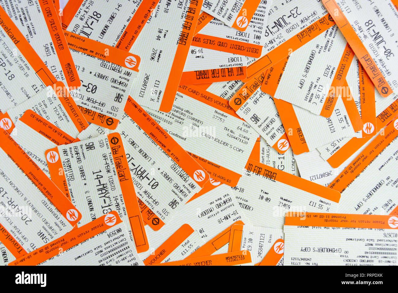 Still-life of Southern railway tickets, Ashford, Surrey, England, United Kingdom - Stock Image