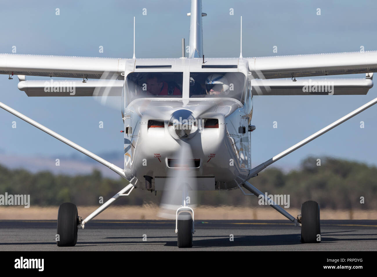 Gippsland Aeronautics GA8 Airvan (VH-SXK) single engine utility aircraft being used for skydiving operations. - Stock Image