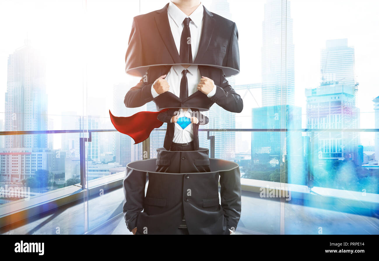 Businessman in suit transform to super hero from layer to layer ,hard work and successful businessman concept . - Stock Image