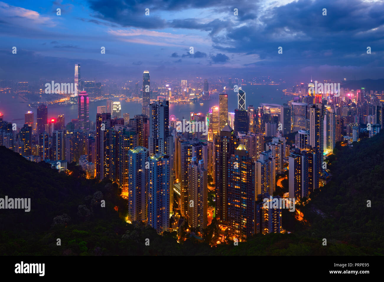 Hong Kong skyscrapers skyline cityscape view - Stock Image