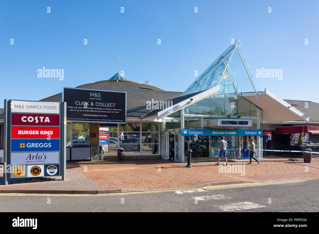 Entrance to Reading West Motorway Services (M4), Reading, Berkshire, England, United Kingdom - Stock Image