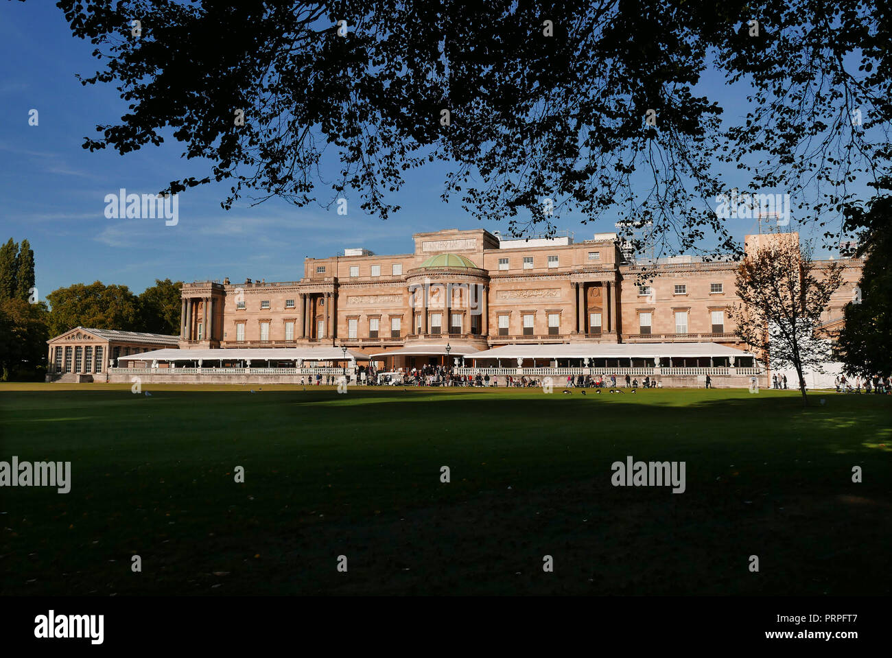 Buckingham Palace and Gardens The west Facing Facade in London England. Stock Photo