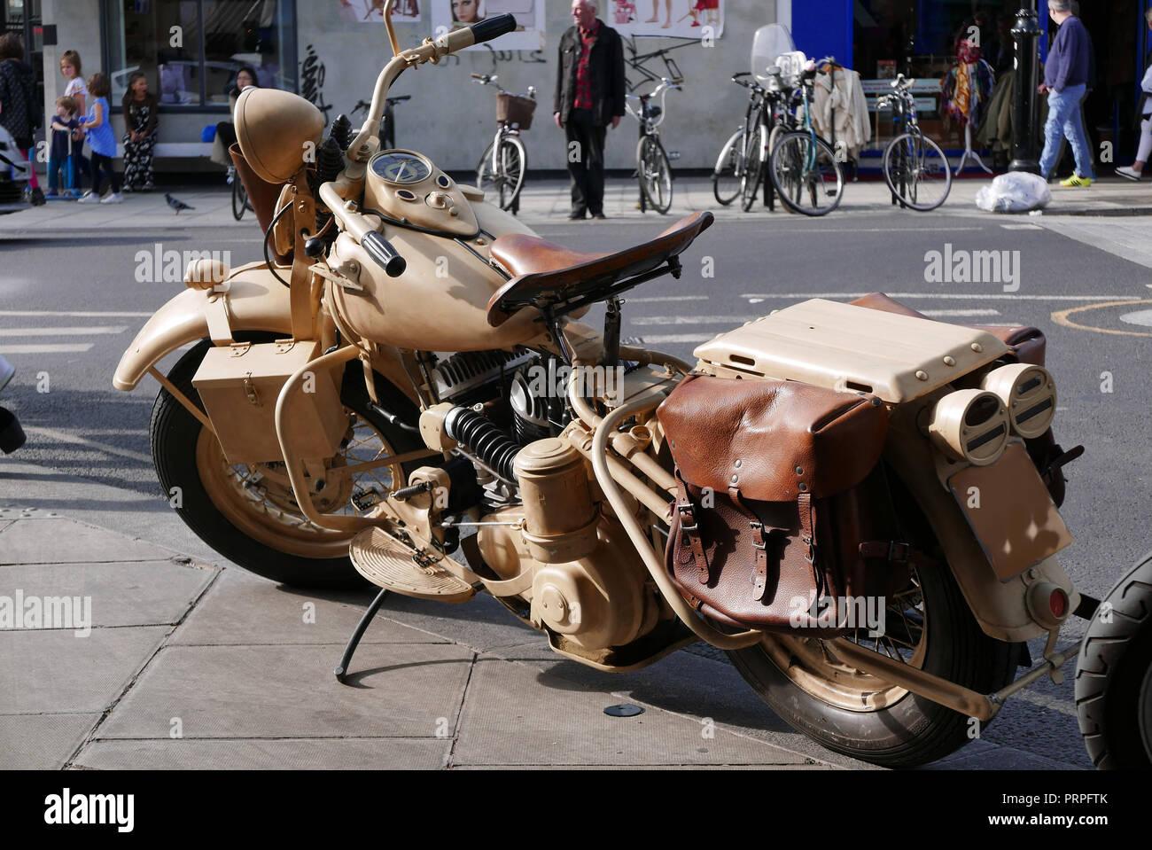 1942 VIntage Harley Davidson Motorbike parked in the Portobello Road London Stock Photo