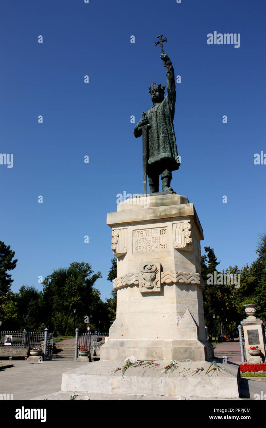 The statue of Stefan cel Mare si Sfant, the national hero of Moldova, in the capital Chisinau. - Stock Image