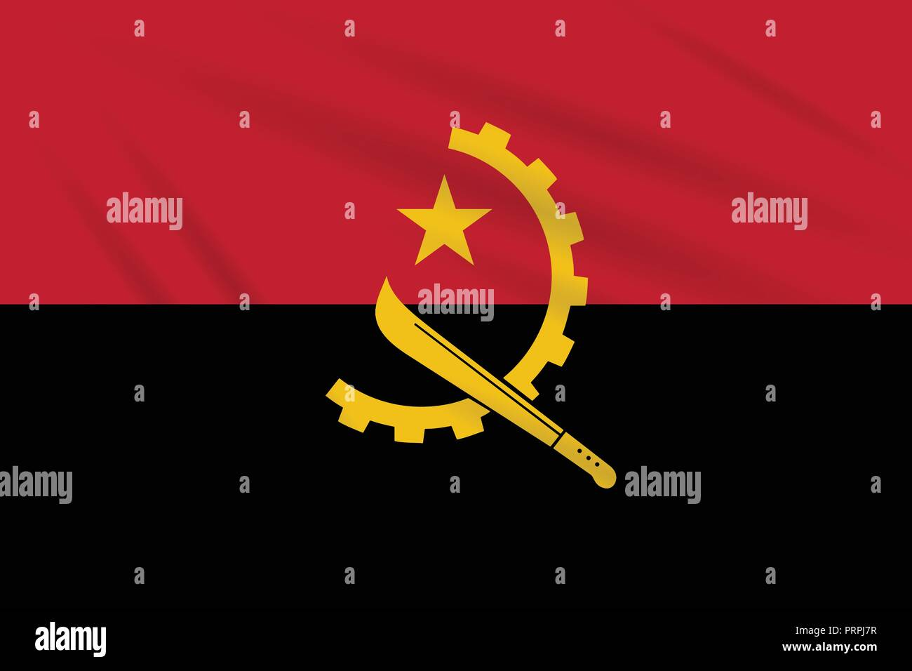 Flag Angola swaying in the wind, realistic vector. - Stock Image