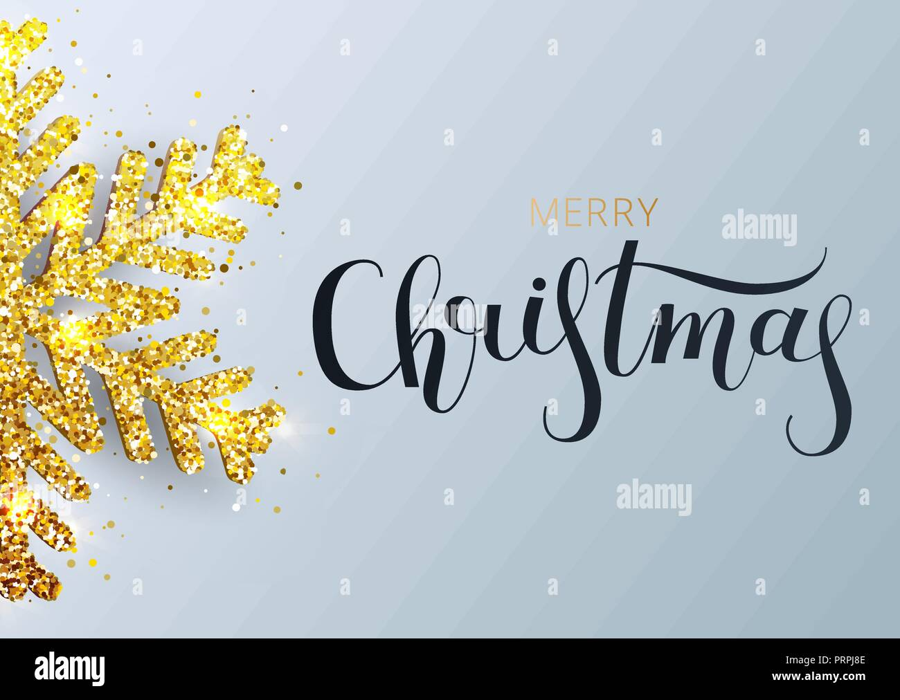greeting card invitation with happy new year 2019 hand written lettering metallic gold christmas snowflake decoration shimmering shiny confetti