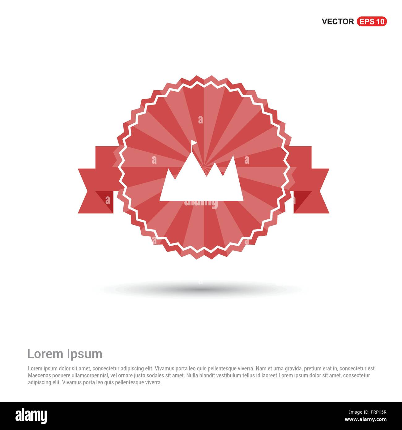 mountain icon - Red Ribbon banner - Stock Image