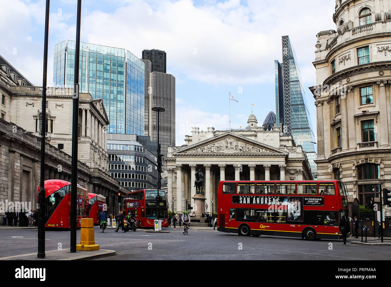London, England, UK - MAY 26, 2015: The Royal Exchange at Cornhill and Threadneedle street, Bank junction, Bank financial district, City of London, Un - Stock Image
