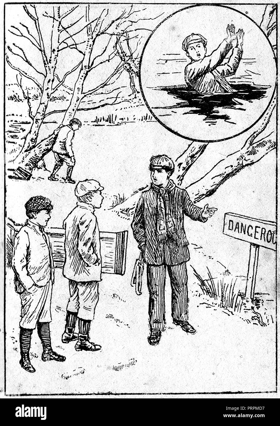 early 1900's's illustration of Ernest Caulder aged 8, and brother Alfred   prior to their death by drowning, despite efforts of local hero Daniel Pusey who is seen here warning them of the dangers prior to the incident    at Burnham Beeches, Bucks - Stock Image
