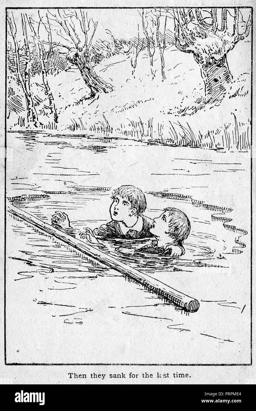 early 1900's's illustration of Ernest Caulder aged 8, and brother Alfred   prior to their death by drowning in an   ice-covered pond at Burnham Beeches, Bucks, despite efforts of local hero Daniel Pusey - Stock Image