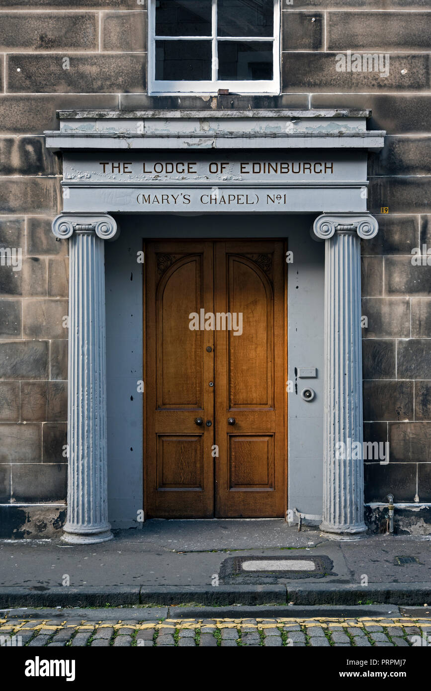 The door to The Lodge of Edinburgh (Mary's Chapel) No.1, a Masonic Lodge in Edinburgh, Scotland. - Stock Image