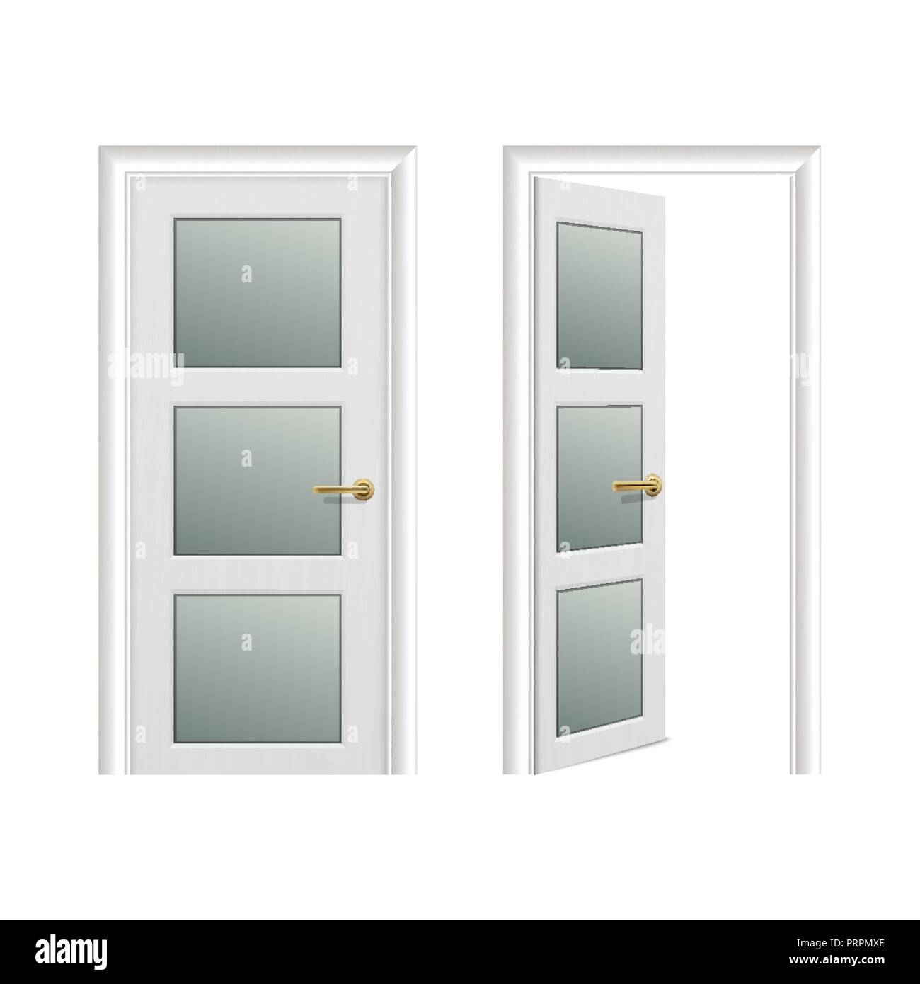 vector realistic different opened and closed white wooden door icon