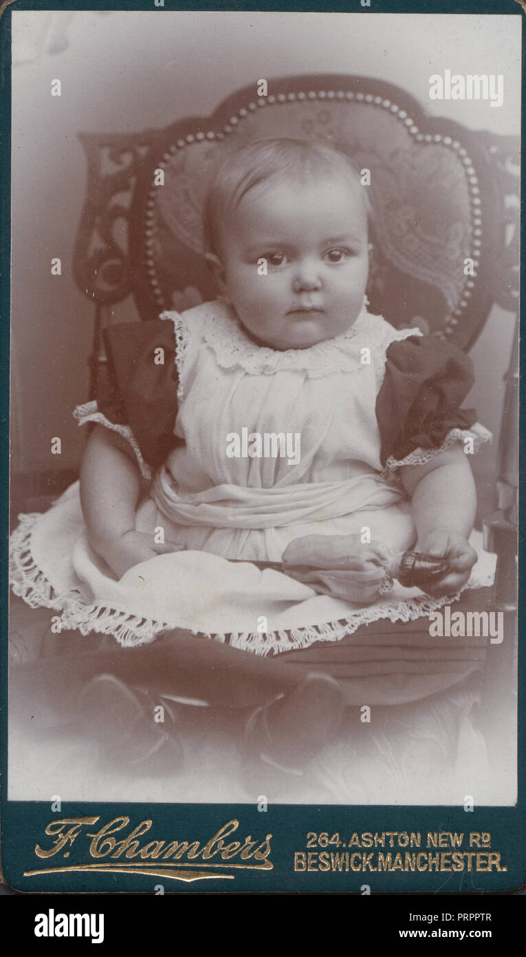 Beswick Manchester CDV Carte De Visite Of A Victorian Child Sat In Chair Holding Toy