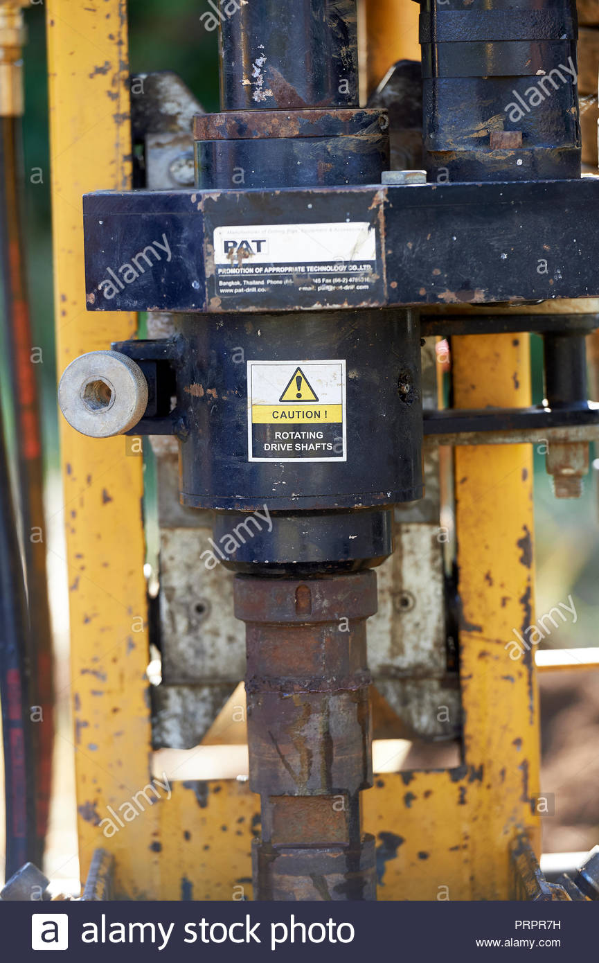 Detail of rotary power drive unit and drill pipe of a PAT-Drill 301 Rotary Drilling Rig. - Stock Image