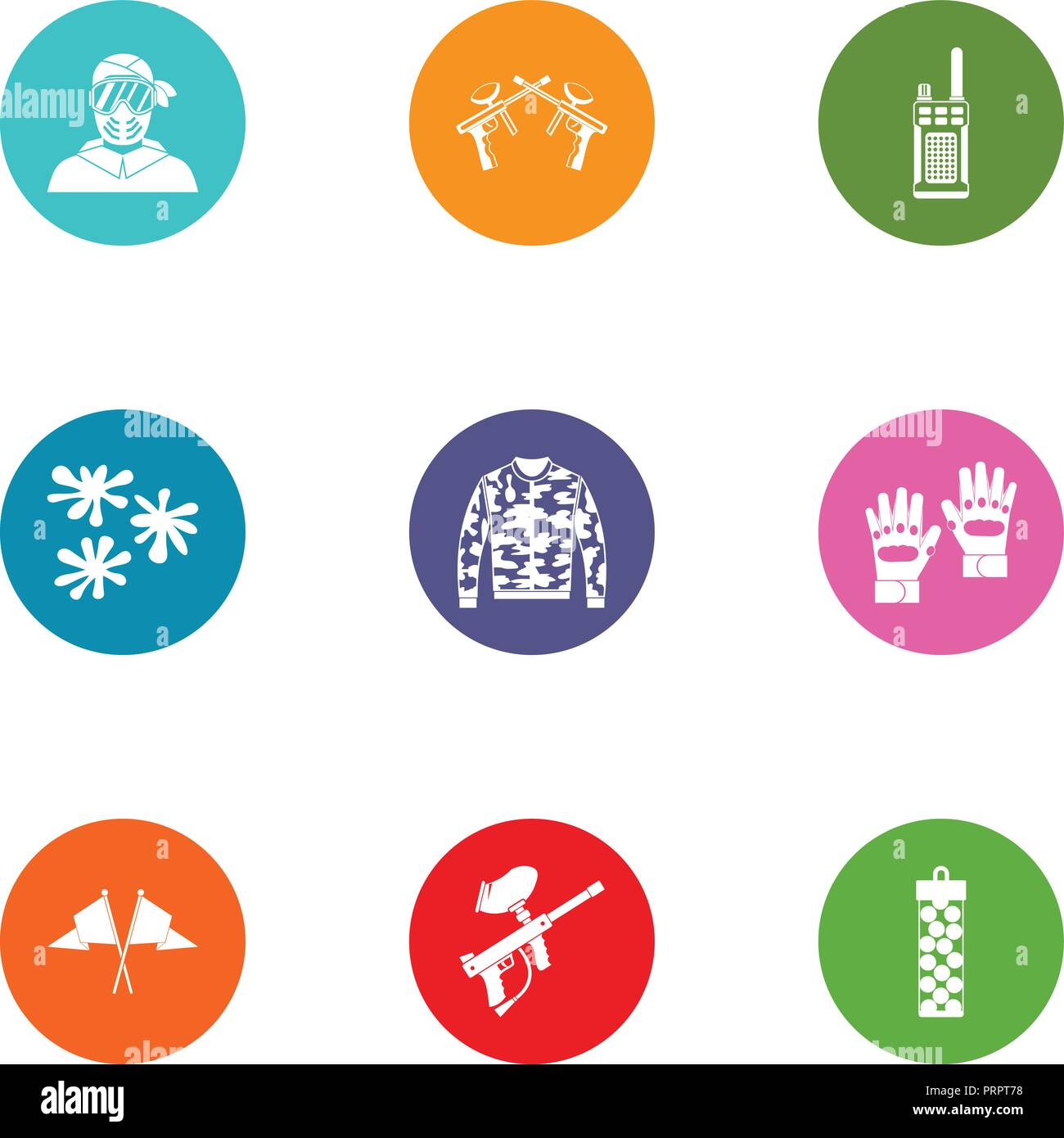Paintball icons set, flat style - Stock Vector