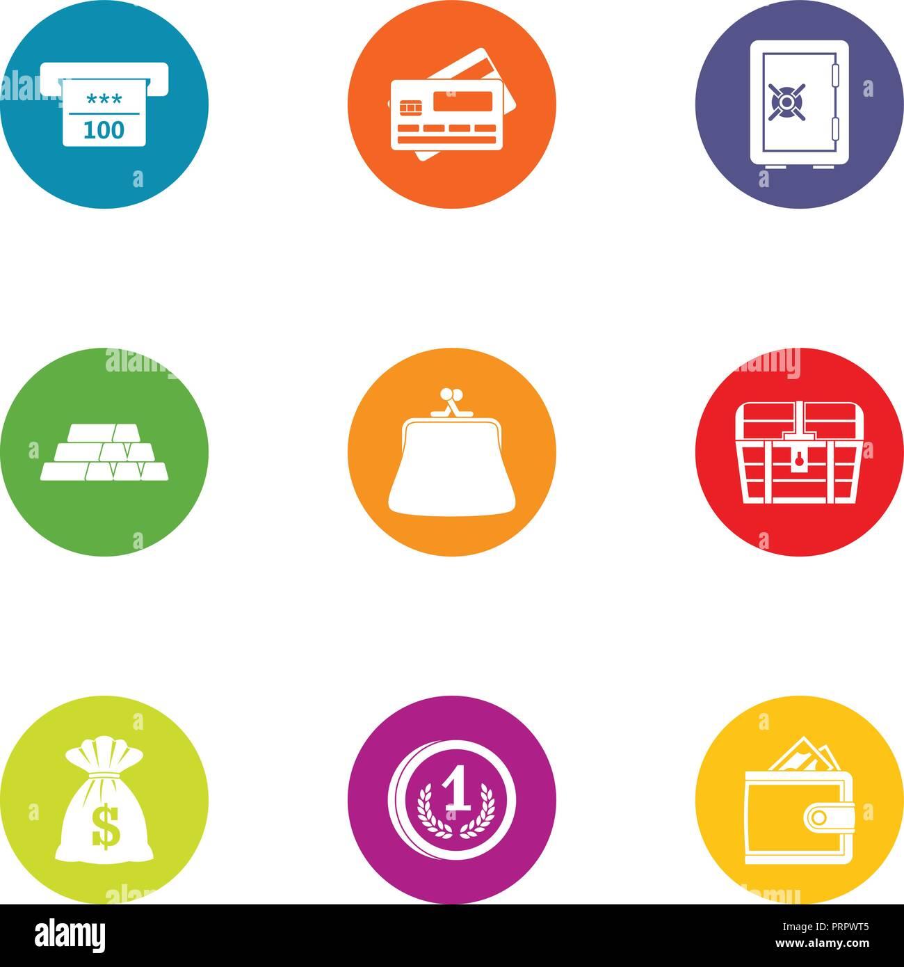 Moolah icons set, flat style - Stock Image