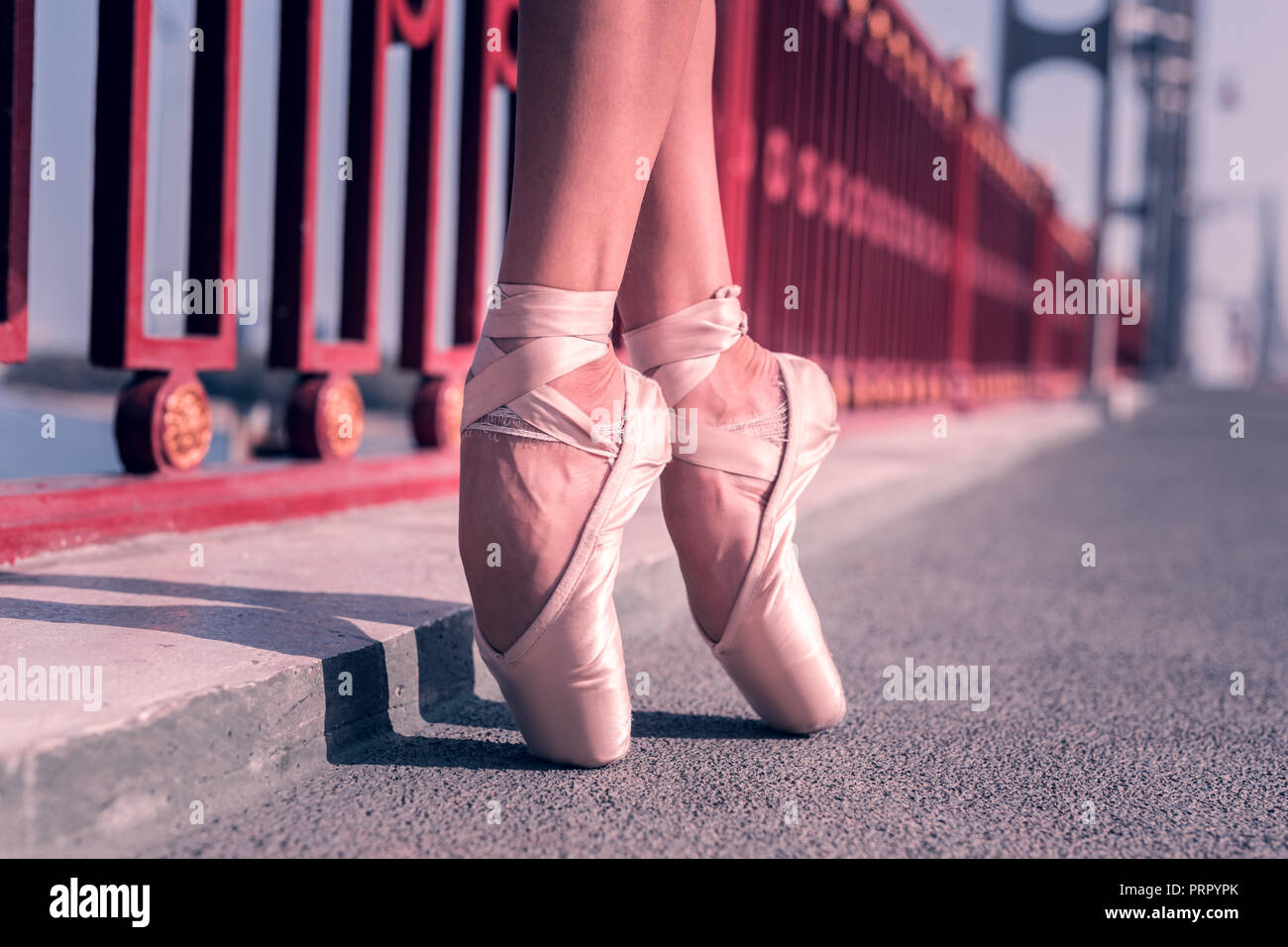 Nice female ballet dancer wearing pointe shoes Stock Photo