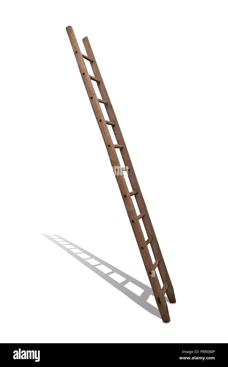 alte Leiter aus Holz vor weiss - Stock Image