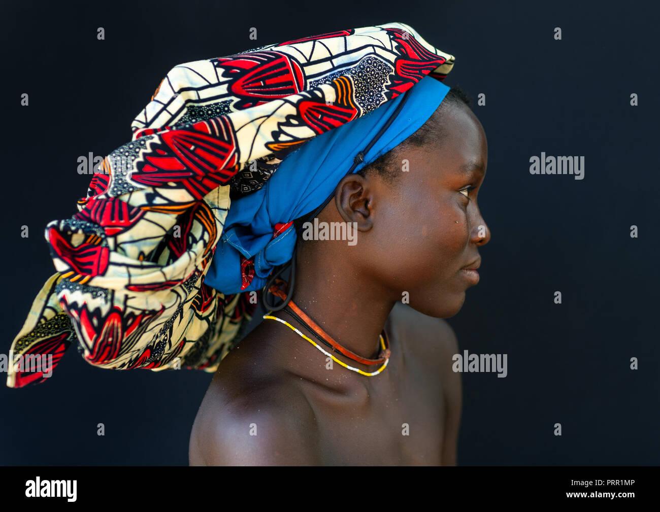 Portrait of a Mucubal tribe women wearing colorful headwears, Namibe Province, Virei, Angola Stock Photo