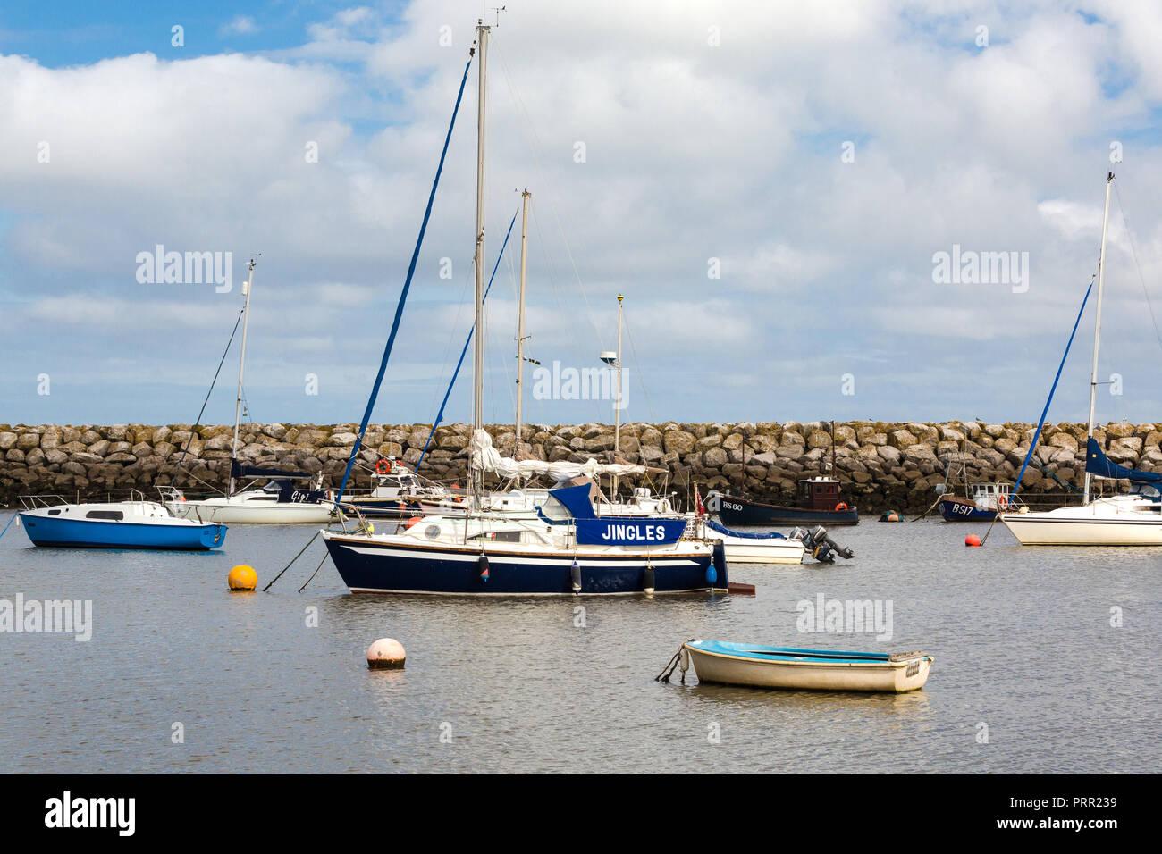 Yachts at anchor Rhos-on-Sea, Llandudno North Wales UK - Stock Image
