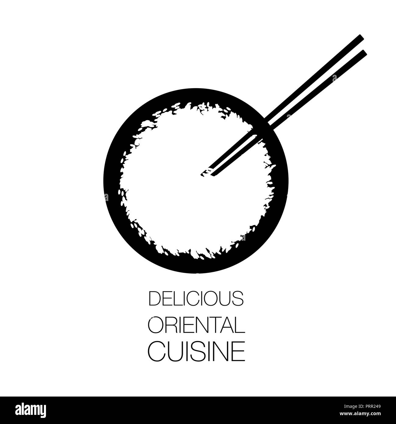 White Rice Bowl And Chinese Sticks Asian Food Symbol Good For Logo