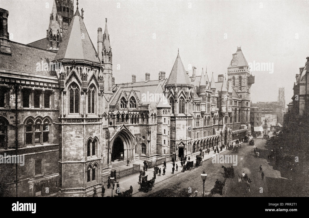 The Royal Courts of Justice aka The Law Courts, The Strand, City of Westminster, London, England.  From The Business Encyclopedia and Legal Adviser, published 1920. - Stock Image