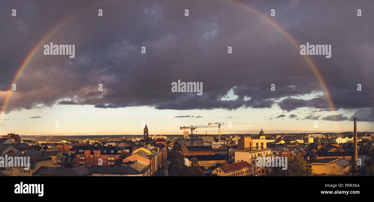 Rainbow on Norrkoping Stock Photo