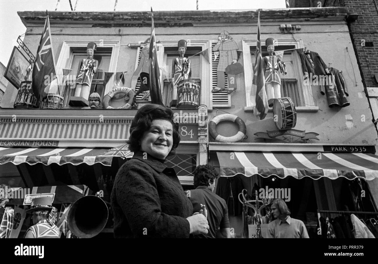 Swedish opera star Birgit Nilsson brows the bric-brac and antiques at the Portobello Road Market in Notting Hill London in 1970 - Stock Image