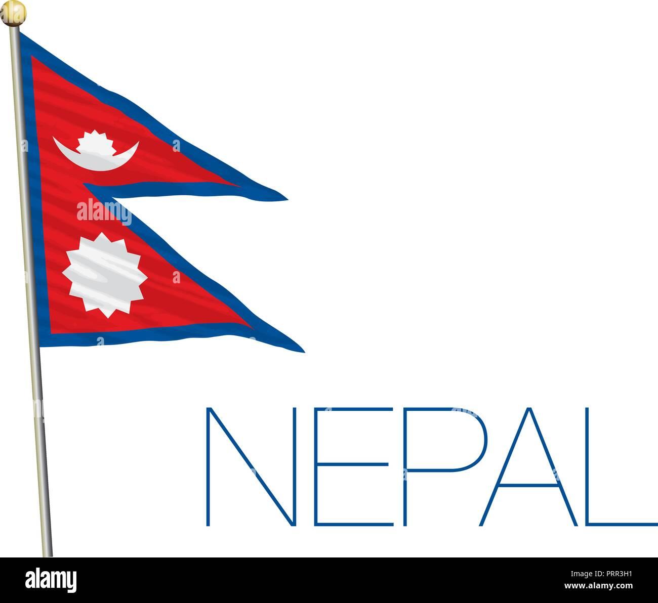 Nepal official flag, vector illustration - Stock Vector