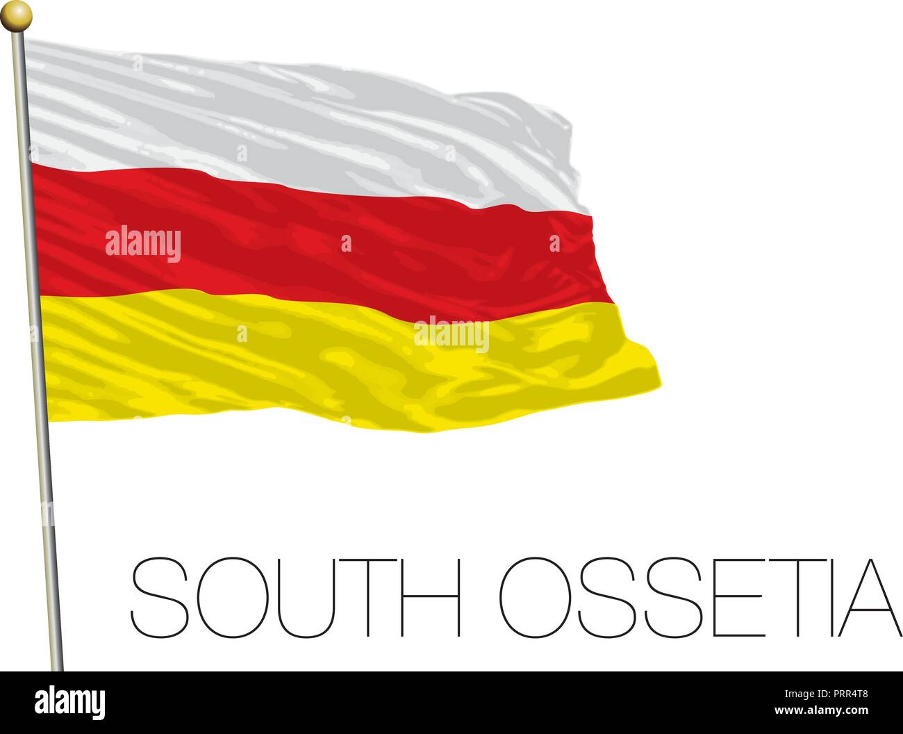 South Ossetia official flag, vector illustration - Stock Image