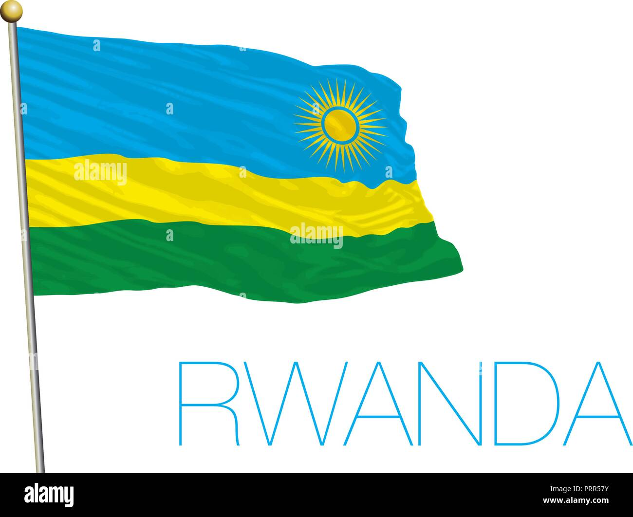 Rwanda official flag, vector illustration - Stock Vector