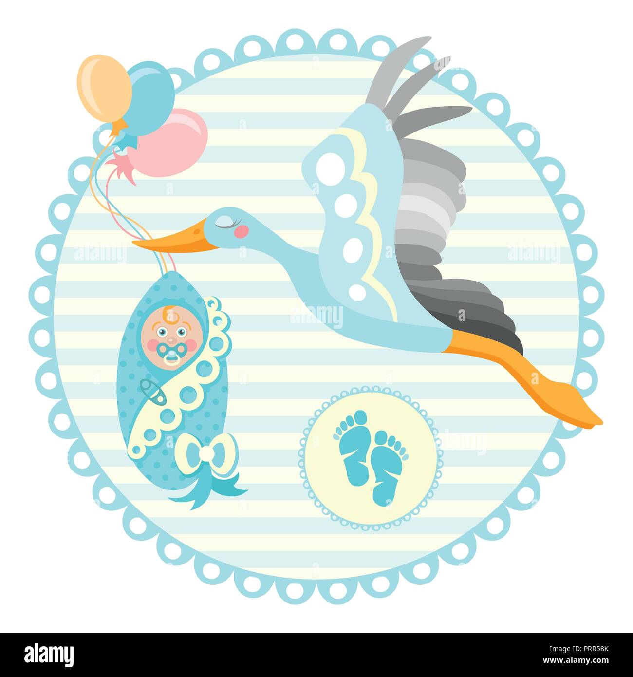 baby shower frame stork carrying a cute baby in a bag it s a boy