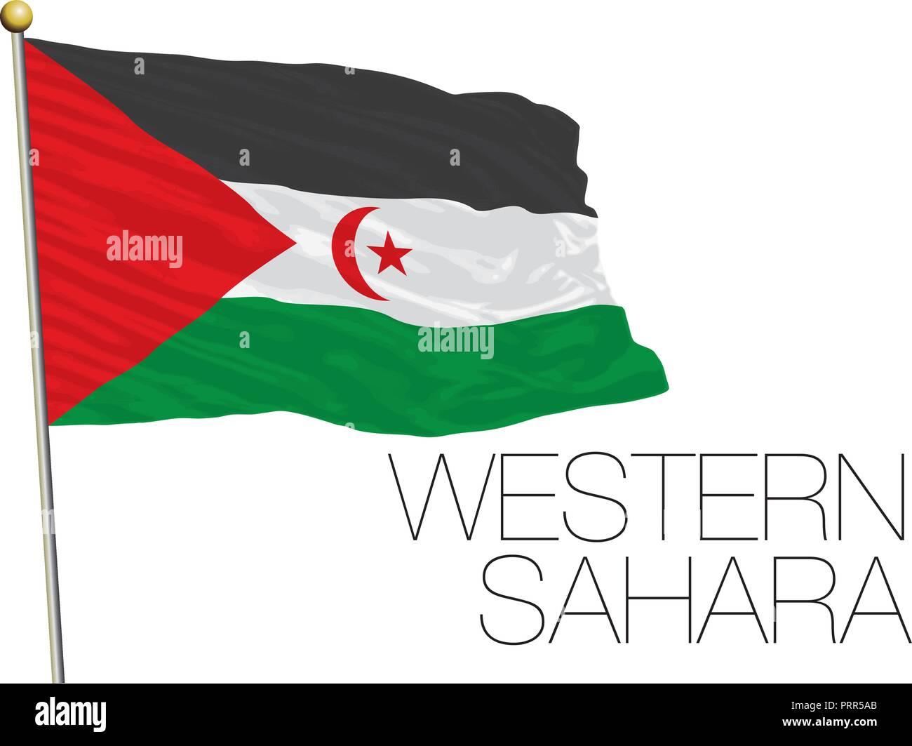 Western Sahara official flag, vector illustration - Stock Image