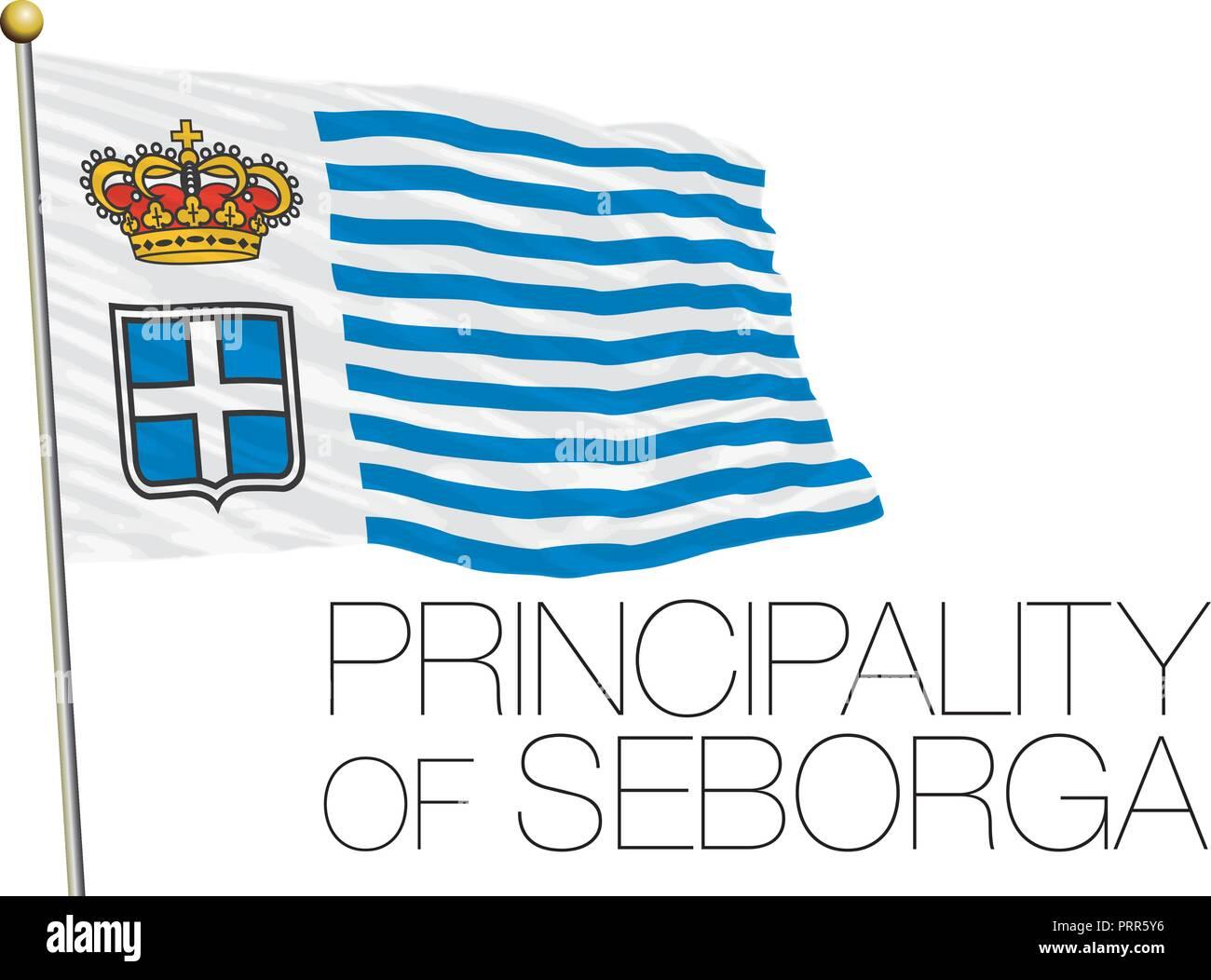 Principality of Seborga official flag, vector illustration - Stock Vector