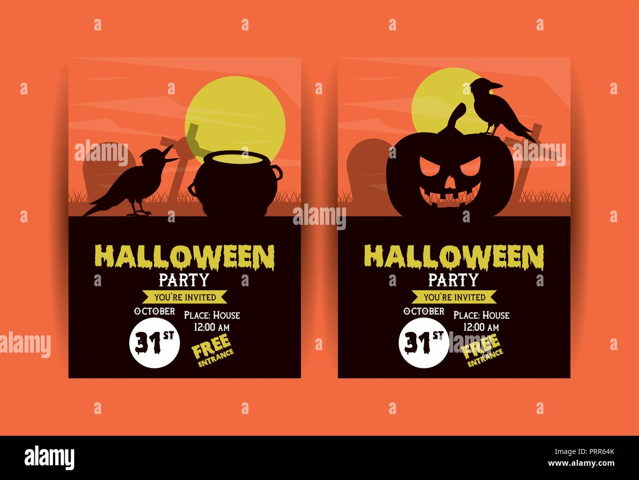 Set Of Halloween Party Invitation Cards Stock Vector Art