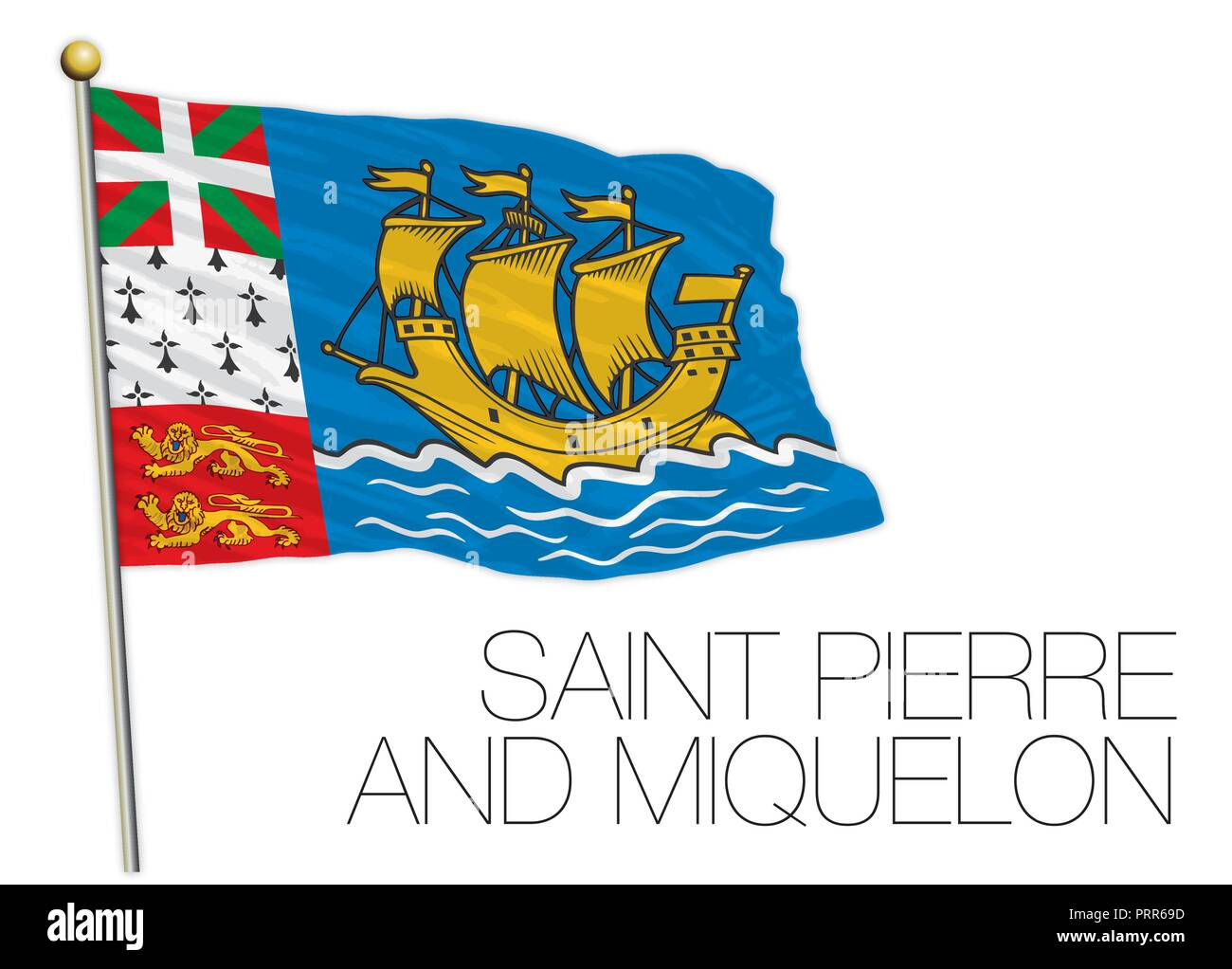Saint Pierre and Miquelon official flag, vector illustration, France - Stock Image