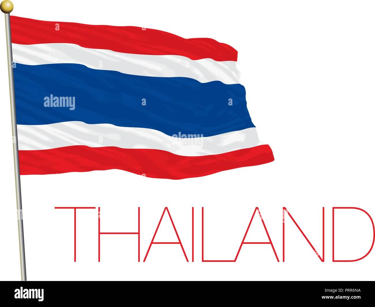 Thailand official flag, vector illustration - Stock Vector