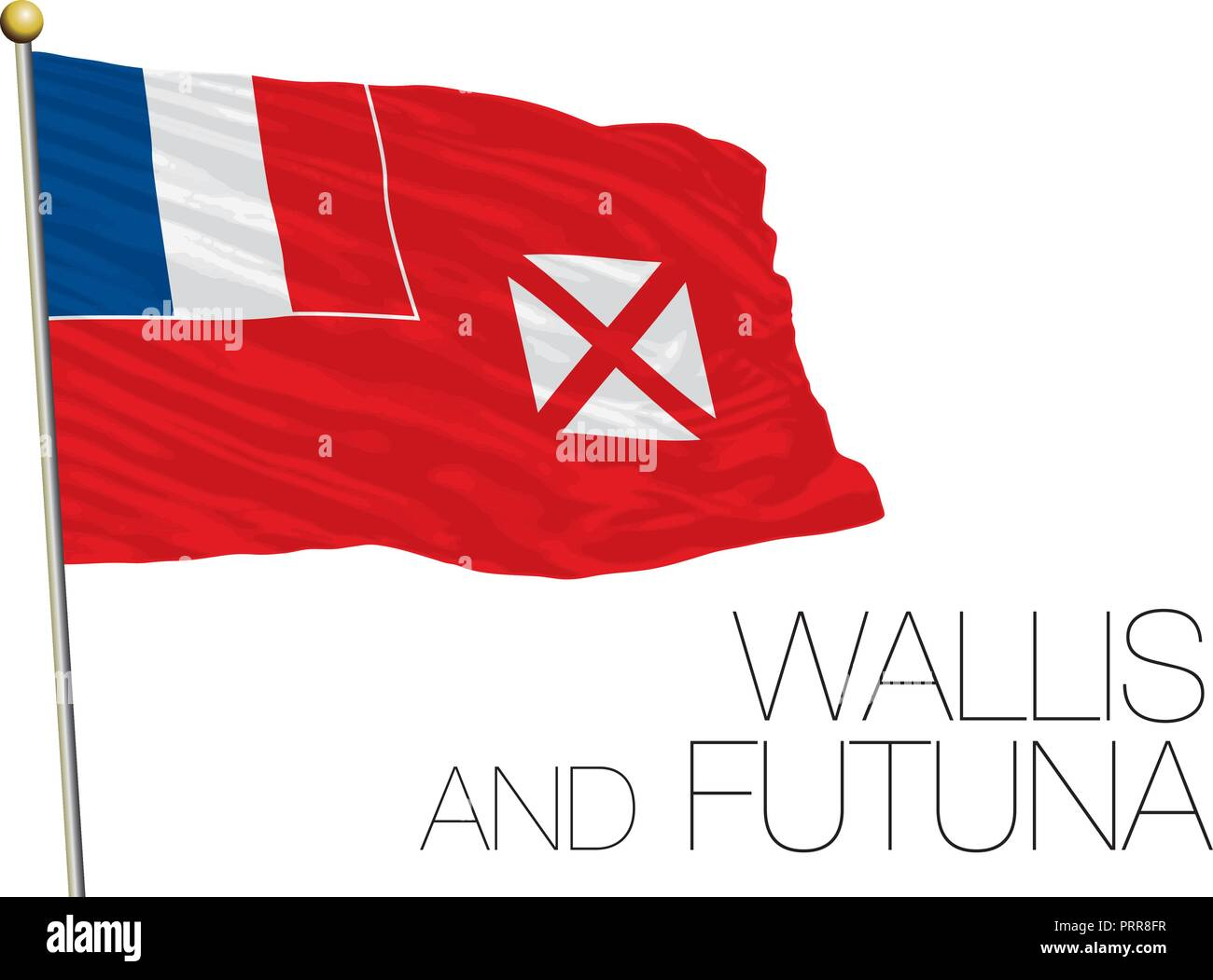Wallis and Futuna official flag, vector illustration - Stock Image