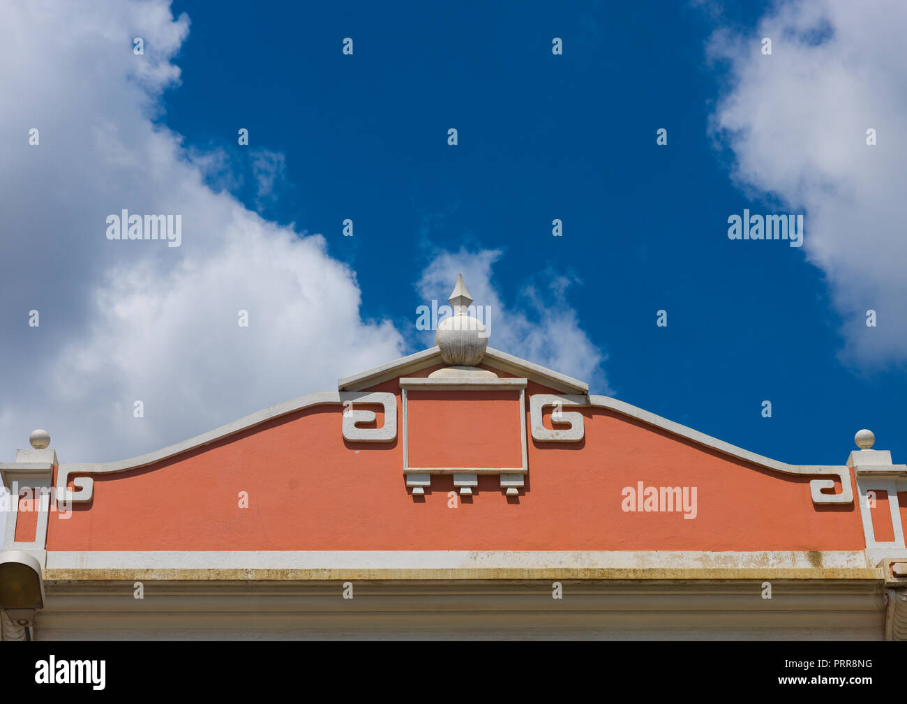 Top of an old portuguese colonial house against the sky, Luanda Province, Luanda, Angola - Stock Image