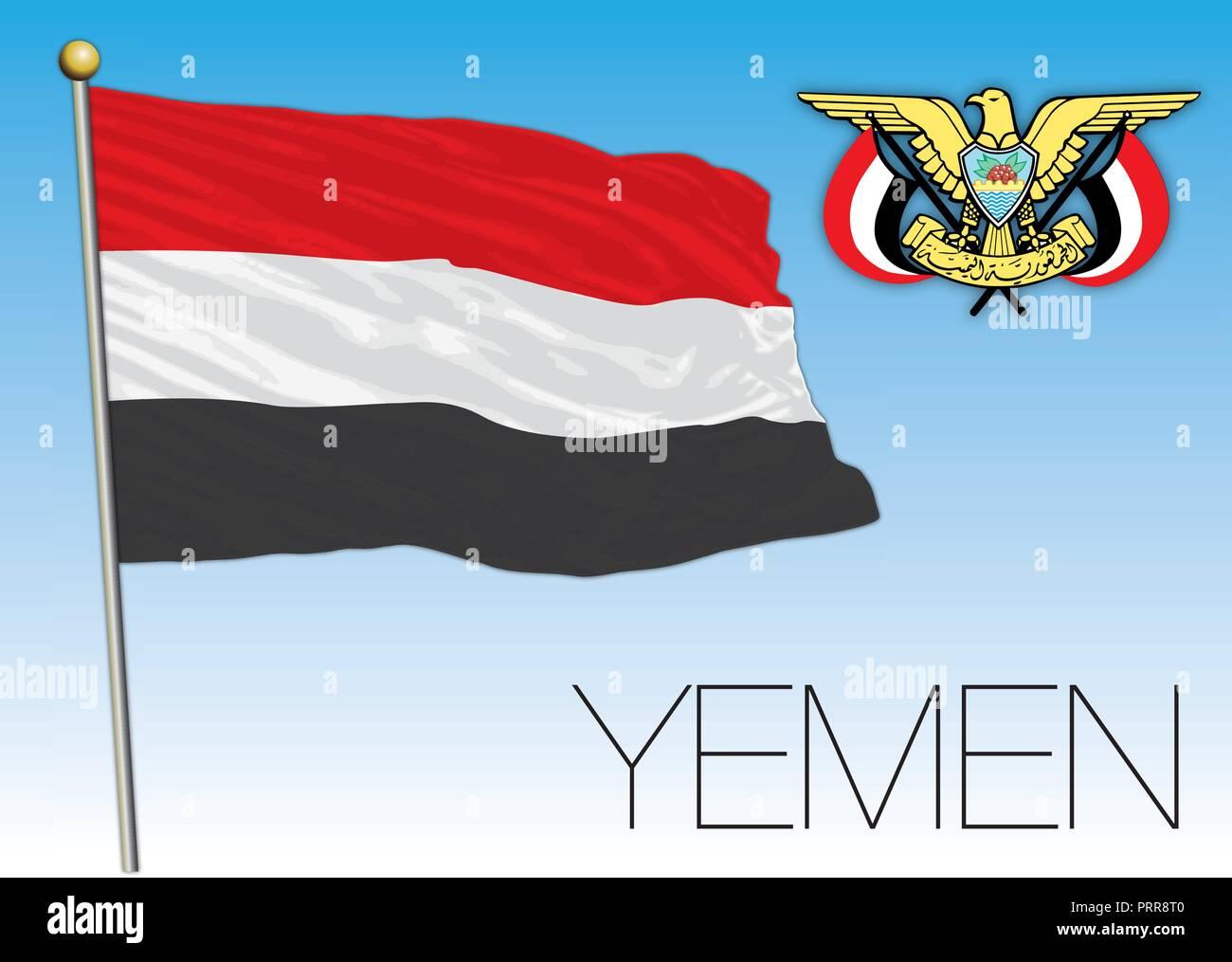 Yemen official flag, vector illustration Stock Vector