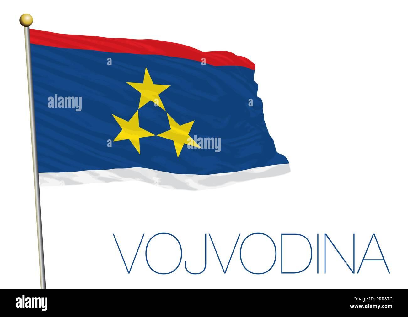 Vojvodina official flag, vector illustration - Stock Image