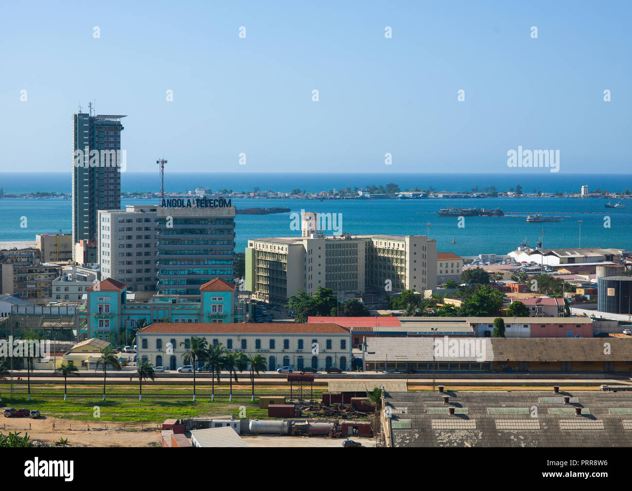 Train station in front of the port, Luanda Province, Luanda, Angola - Stock Image