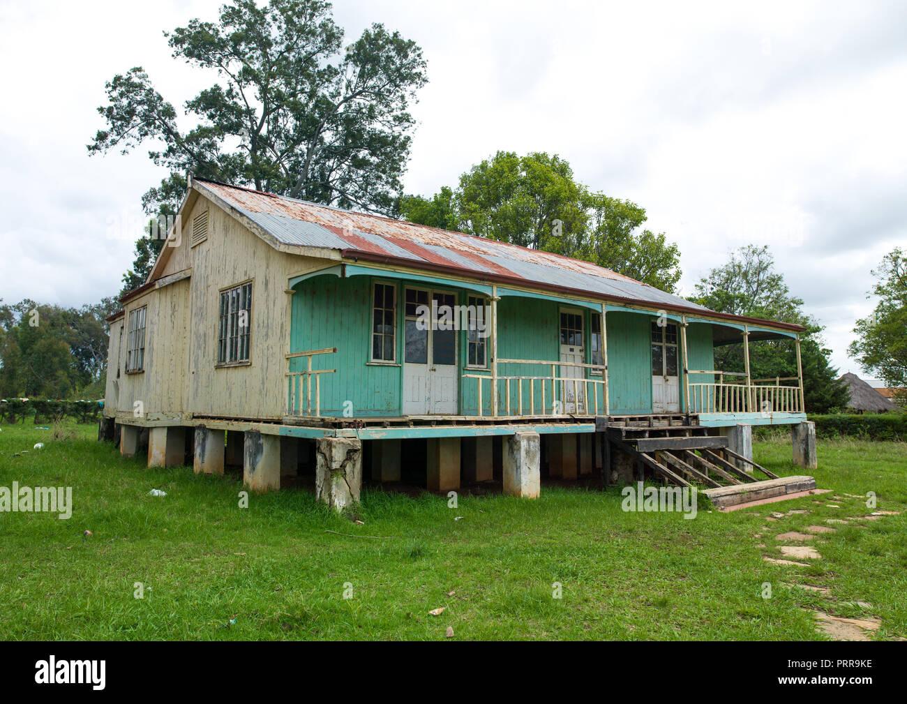 Portuguese settlers wooden houses, Huila Province, Lubango, Angola Stock Photo