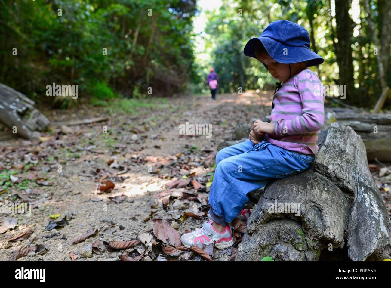 Child Hiking Log Stock Photos & Child Hiking Log Stock