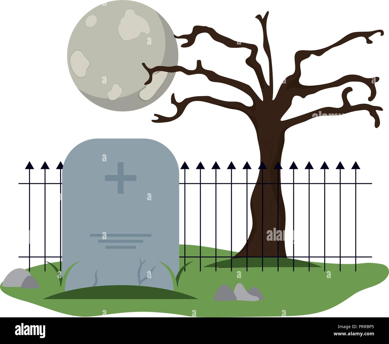 Tombstone cemetery with full moon - Stock Vector