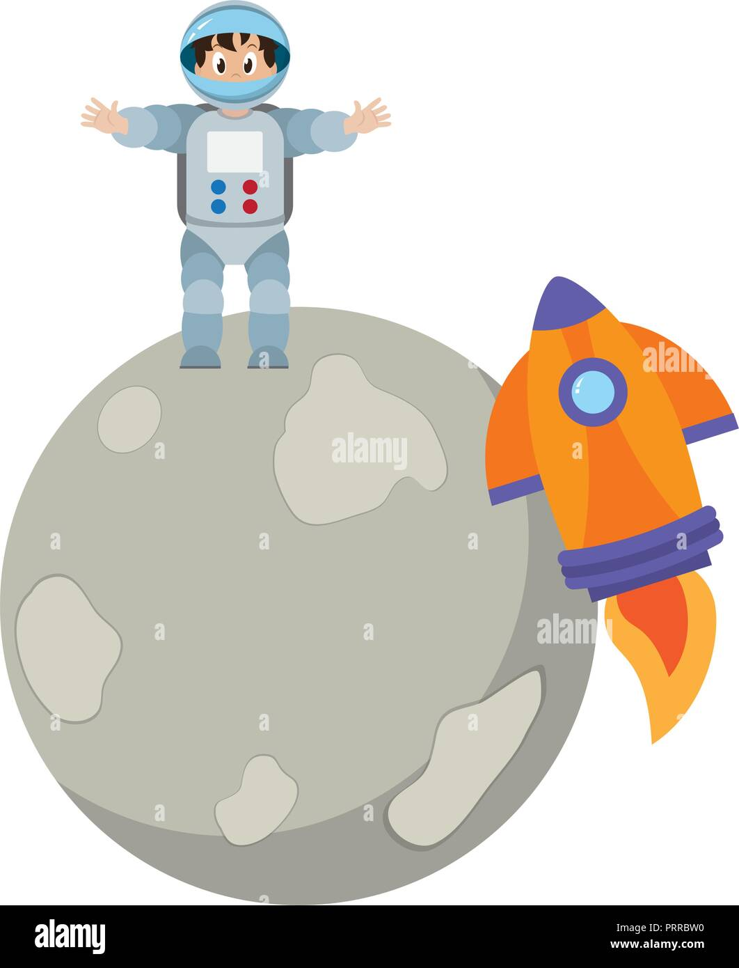 Astronaut boy on moon Stock Vector